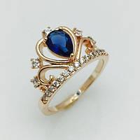Женское кольцо корона с большим синим камнем, размер 16, 19, 20