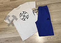 Летний мужской спортивный костюм шорты+футболка Adidas Ole белый верх синий низ