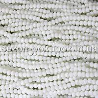 Бусины хрустальные (Рондель)  4х3мм пачка - 135 шт, цвет - белый  непрозрачный