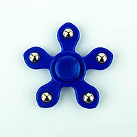 Спиннер пластиковый синий пятилистник с металлическими шариками