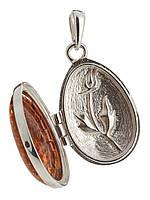 Подвеска-медальон с янтарем серебряная