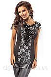 Блузка, туника, кофточка женская нарядная черная, серая с коротким рукавом Enny, фото 2