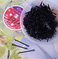 Невидимки для волос черные , 5 см, 370 шт