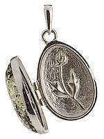 Подвеска-медальон с янтарем серебряная, фото 1