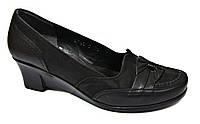 Туфли женские кожаные. Черные. Танкетка(Турция)