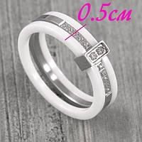 Женское кольцо из белой керамики и ювелирной стали 16-21 р 136207