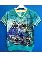 Модная футболка для мальчика в сетку 110-122