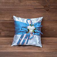 Свадебная подушечка для колец голубая