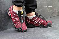 Мужские кроссовки Salomon Speedcross 3, нубук + текстильная сетка, бордовые / кроссовки Саломон Спидкросс