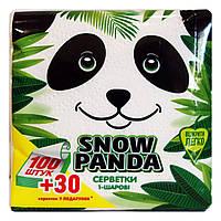 Салфетки бумажные Снежная Панда белые 1 слой 24 х 24 см - 100 шт.