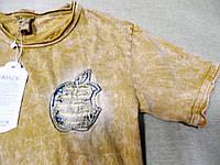 Модная горчичная футболка для мальчика 152-170