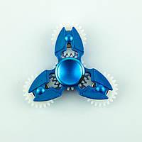 Спиннер пластиковый синий тройник с 4-мя шестерёнками