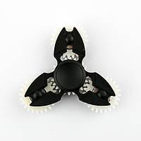 Спиннер пластиковый чёрный тройник с 4-мя шестерёнками Spinner plast 091-R