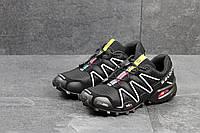 Мужские кроссовки Salomon Speedcross 3, нубук + текстильная сетка, черно белые / кроссовки Саломон Спидкросс