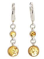 Серьги серебряные с янтарем, фото 1