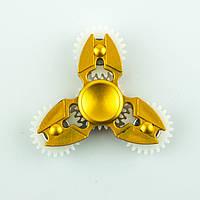 Спиннер пластиковый золотистый тройник с 4-мя шестерёнками Spinner plast 092-R