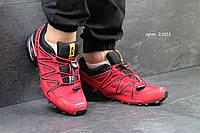 Мужские кроссовки Salomon Speedcross 3, нубук + текстильная сетка, красные / кроссовки Саломон Спидкросс
