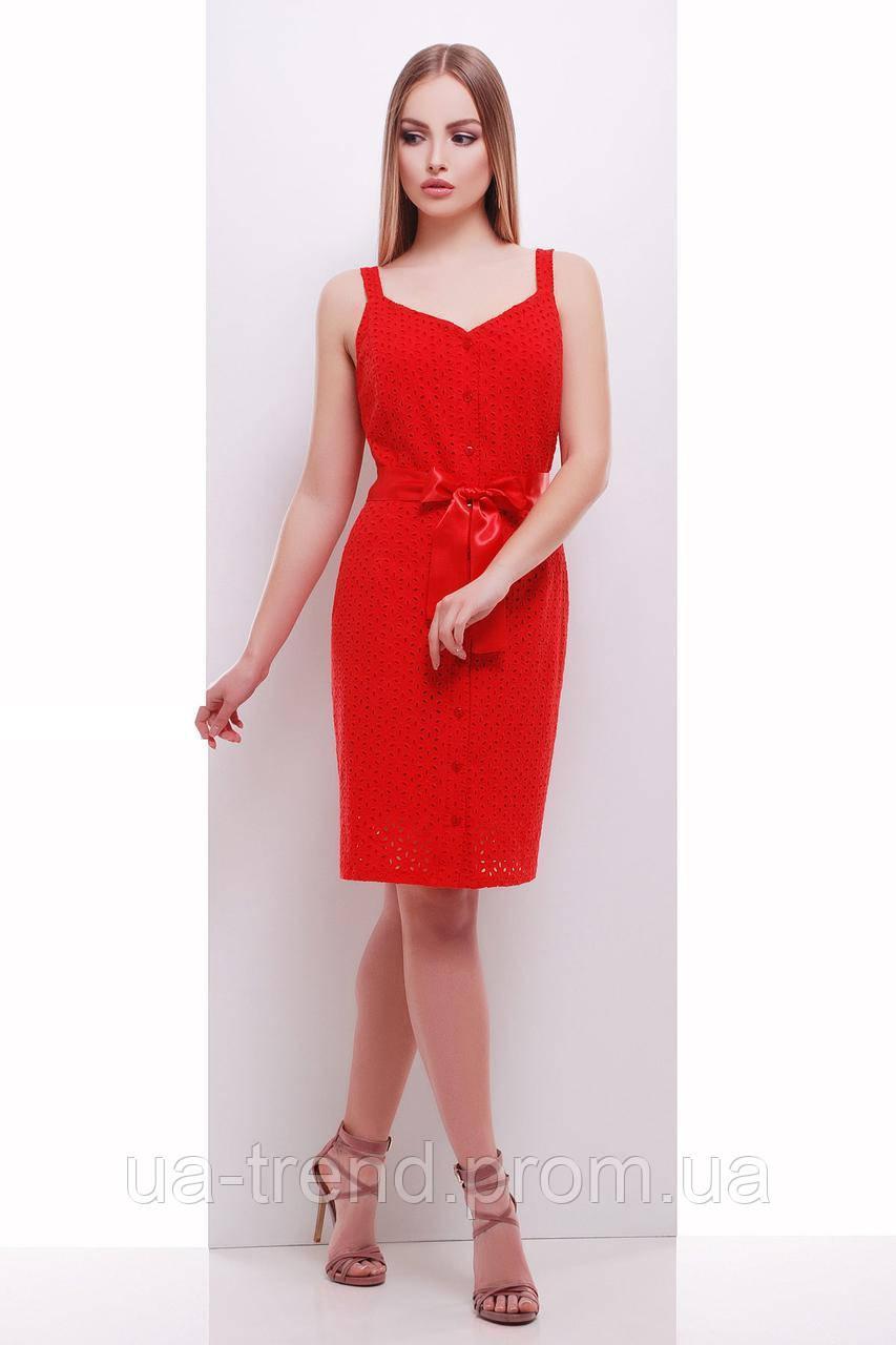 Летнее красное платье на бретелях