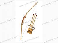 Лук деревянный, 1метр чехол д/стрел+ 3 стрелы//(171870у)
