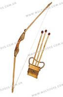 Лук деревянный, 85см чехол д/стрел+3 стрелы //(171872у)