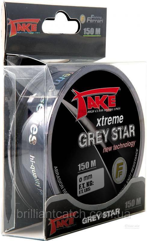 Леска Lineaeffe Take Xtreme GREY STAR 150м 0.177мм  FishTest-4.7кг  (серая)  Made in Japan
