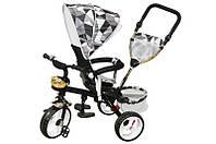 Велосипед qat-t017а (eva), 3-х колесный, черный с крышей, стальная рама, пенные колеса, поворотное кресло, корзинка