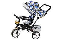 Велосипед qat-t017а (eva), 3-х колесный, синий с крышей, стальная рама, пенные колеса, поворотное кресло, корзинка