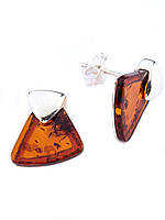 Серьги-пуссеты серебряные с янтарем, фото 1