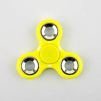 Спиннер пластиковый жёлтый тройник с металлическими вставками Spinner plast 095-R