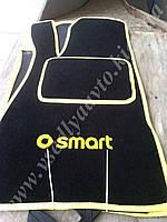 Ворсовые коврики в салон SMART 452 Roadster (черные с желтым)