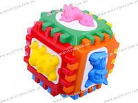 Логический куб-сортер, с вкладышами. 14*14*14см в пакете /15/(50-001)