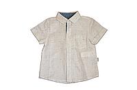 Рубашка льняная для мальчика с коротким рукавом, белая