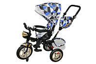 Велосипед qat-t017а (air), 3-х колесный, синий с крышей, стальная рама, надувные колеса, поворотное кресло, корзинка
