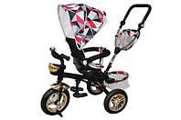 Велосипед qat-t017а (air), 3-х колесный, красный с крышей, стальная рама, надувные колеса, поворотное кресло, корзинка