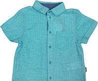Рубашка льняная для мальчика с коротким рукавом, бирюза 134, 140 размер