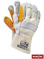 Защитные перчатки усиленные яловой кожей (перчатки кожаные рабочие) RBPOWER_Y BEJSY