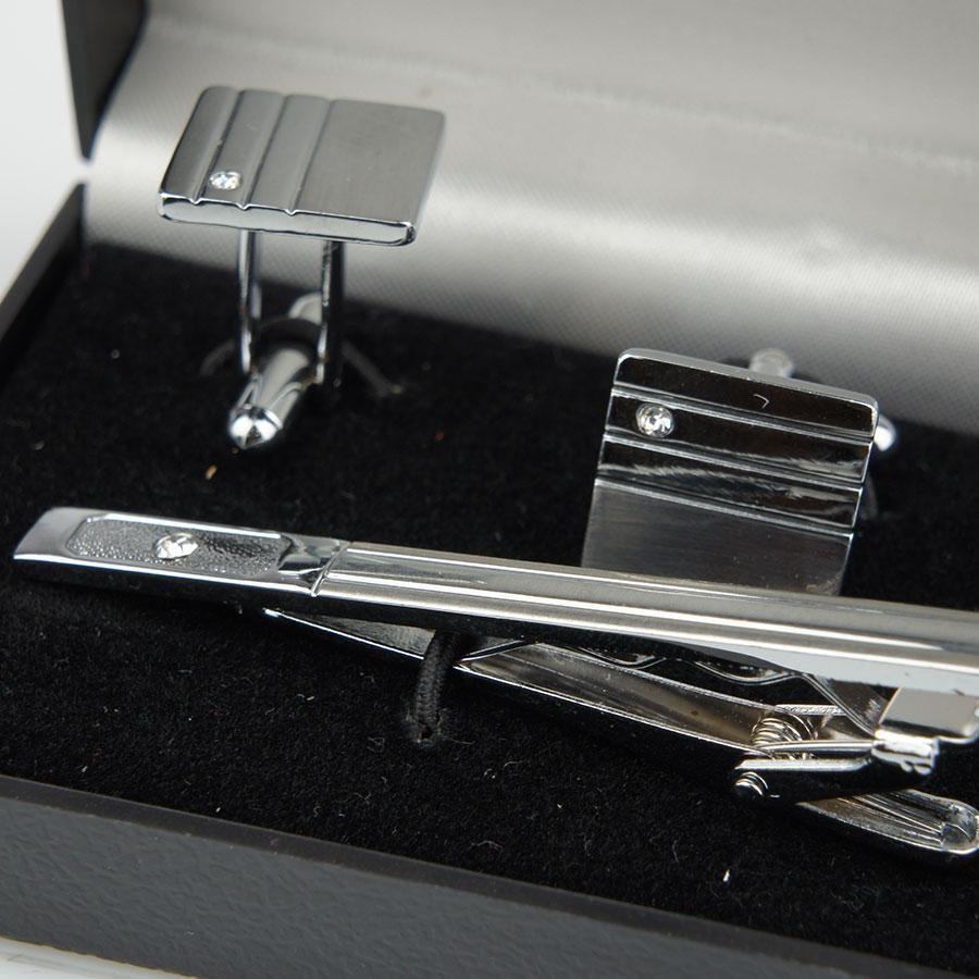 Набір запонки із шпилькою для краватки під срібло 0200