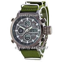 Мужские водонепроницаемые оригинальные кварцевые часы AMST Black-Black Green Wristband