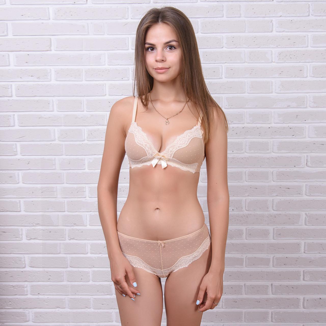 Й комплект белья женский кружевной: бюстгальтер и трусы мини-бикини Pinkdear 8302beige