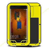 Чехол противоударный Love Mei Gorilla Glass для Huawei Mate 9 Pro желтый