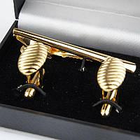 Набір запонки із шпилькою для краватки під золото 0200