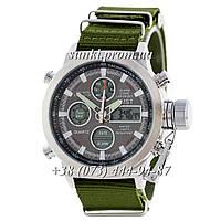 Мужские водонепроницаемые оригинальные кварцевые часы AMST Silver-Black Green Wristband