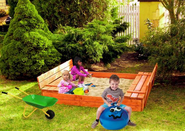 Детская игровая площадка (песочница + столик с лавочками)