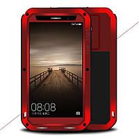 Чехол противоударный Love Mei Gorilla Glass для Huawei Mate 9 красный
