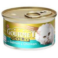 Консервы для котов Gourmet Gold (Гурмет Голд)  с лососем и цыпленком 85 гр