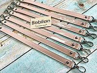 Ручка для сумки с карабинами (эко-кожа), пудра лакированная