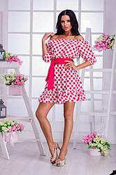 Платье горох+пояс 16/3246