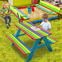 Детская игровая площадка, комплект песочница + качеля + столик с лавочками