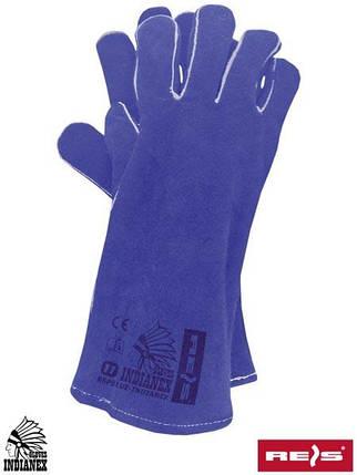 Перчатки кожаные рабочие длинные REIS (RAWPOL) Польша RSPBLUE-INDIANEX N, фото 2