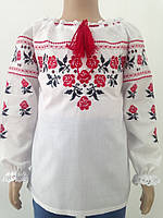 Вышиванка с длинным рукавом из батиста для девочки